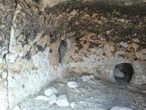Pueblo New Mexico di Tsankawe delle abitazioni di caverna Immagini Stock
