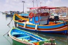 Pueblo pesquero de Marsaxlokk, Malta Fotos de archivo libres de regalías