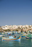 Pueblo pesquero de Marsaxlokk Malta Fotos de archivo libres de regalías