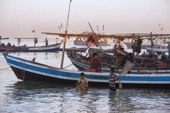 Pueblo pesquero - playa de Ngapali - Myanmar (Birmania) foto de archivo