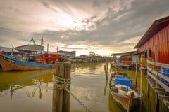 Pueblo pesquero, Sekincha, Selangor Malasia Imágenes de archivo libres de regalías