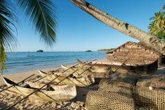 Pueblo pesquero tropical Foto de archivo libre de regalías