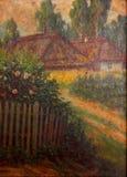 Pueblo - pintura al óleo Imágenes de archivo libres de regalías