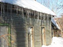 Pueblo ruso Casas de madera en la costa, lengua de territorio, la Florida, los E imagen de archivo
