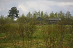 Pueblo ruso por la hierba verde, gris azul, cielo nublado de Orthern Fotografía de archivo libre de regalías