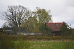 Pueblo ruso por la hierba verde, gris azul, cielo nublado de Orthern Foto de archivo