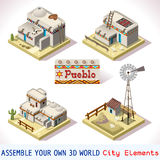 Pueblo Tiles 03 Set Isometric Stock Photography