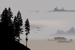 Pueblo, valle que rodea por la niebla, otoño de Baviera, Alemania ilustración del vector