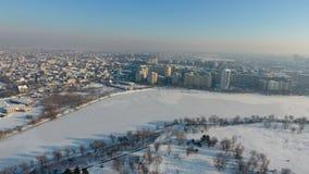 Pueblo visto desde arriba, nieve Fotos de archivo libres de regalías
