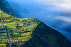 Pueblo y acantilado en el volcán de Bromo, Indonesia imagenes de archivo
