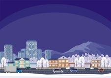 Pueblo y ciudad de la cabaña stock de ilustración