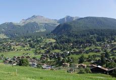 Pueblos alpinos en la manera a Grindelwald Fotos de archivo libres de regalías