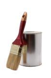 Pueda de la pintura con el cepillo Foto de archivo libre de regalías