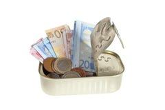 Pueda del dinero Foto de archivo libre de regalías