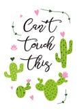 Puede el tacto del ` t esto La impresión espinosa dibujada mano linda del cactus con los cactus inspirados de la frase imprime Imagen de archivo