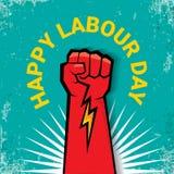1 puede etiqueta feliz del vector del día de trabajo con el puño rojo fuerte en fondo del torquise fondo o bandera del Día del Tr libre illustration