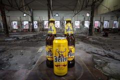 Puede y la botella de cerveza de Jelen Pivo en una fábrica abandonada El pivo de Jelen es una cerveza ligera foto de archivo libre de regalías