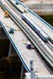 Puente abandonado del transporte con los coches y el metro Appokalipsis del concepto accidente Imagen de archivo libre de regalías