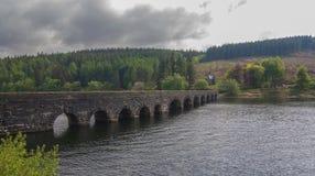 Puente arqueado, de piedra sobre un lago Imagen de archivo libre de regalías