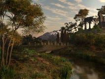 Puente cerca de ruinas del templo Fotografía de archivo