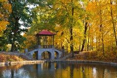 Puente chino en el parque Fotografía de archivo libre de regalías