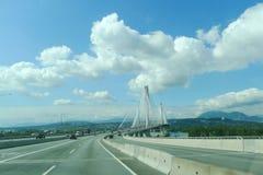 Puente colgante de Mann del puerto Imágenes de archivo libres de regalías