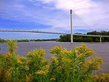 Puente colgante de Omaha Imágenes de archivo libres de regalías