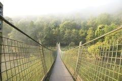 Puente colgante del pie sobre el río Imagen de archivo libre de regalías