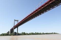 Puente colgante del río de Garona de Aquitaine Bordeaux France foto de archivo libre de regalías