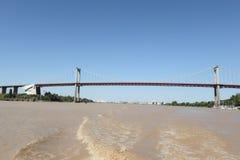 Puente colgante del río de Garona de Aquitaine Bordeaux France imágenes de archivo libres de regalías