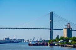 Puente colgante del río de la sabana fotografía de archivo