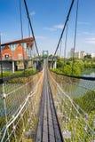 Puente colgante en el parque de los humedales de Jhongdou Imagenes de archivo