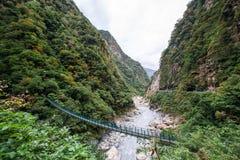 Puente colgante en la garganta de Taroko foto de archivo libre de regalías