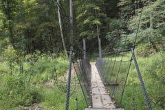 Puente colgante en pista de senderismo fotos de archivo libres de regalías