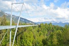 Puente colgante panorámico Sigriswil Imagen de archivo libre de regalías