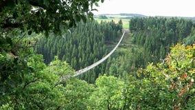 Puente colgante simple Geierlay en Moersdorf en las montañas de Hunsrueck metrajes