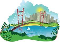 Puente colgante y ciudad Stock de ilustración
