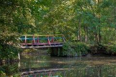 Puente colorido sobre una corriente en parque acogedor Fotografía de archivo