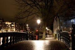 Puente con las luces en el festival anual de la luz de Amsterdam el 30 de diciembre de 2013 Fotografía de archivo