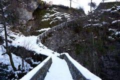 Puente con nieve Foto de archivo libre de regalías