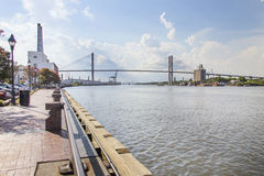 Puente conmemorativo de Talmadge en la sabana, Georgia Fotografía de archivo