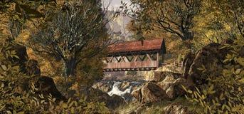 Puente cubierto viejo ilustración del vector