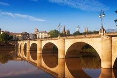 Puente DA Piedra sobre el Ebro Logrono Imágenes de archivo libres de regalías