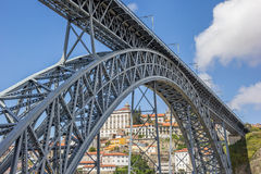 Puente de acero Ponte Luis I entre Oporto y Gaia Imagen de archivo