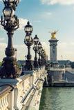 Puente de Alejandro III en París Imagen de archivo libre de regalías