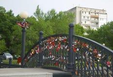 Puente de amantes y de recién casados Imagen de archivo libre de regalías