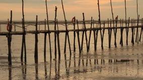 Puente de bambú en la playa almacen de metraje de vídeo