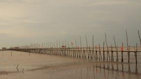 Puente de bambú en la playa metrajes
