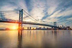 Puente de Ben Franklin en Philadelphia Fotografía de archivo libre de regalías