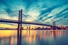 Puente de Ben Franklin en Philadelphia Fotografía de archivo